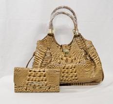 SET Brahmin Elisa Satchel/Shoulder Bag + Checkbook Wallet in Tobacco Melbourne - $479.00
