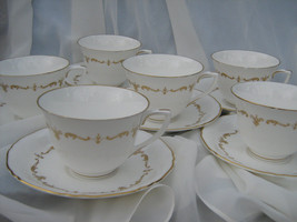 Royal Worcester,Gold Chantilly, Cup and Saucer, Wavy Rim,England Fine Bone China - $80.90