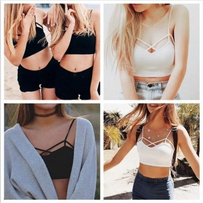 ad3e0e2814cac New Sexy Women Cut Out White Bra Bustier Crop Top Bralette Strappy ...