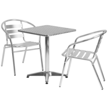 """Offex 23.5"""" Square Aluminum Indoor Outdoor Bar Table with 2 Slat Back Chairs - $255.99"""