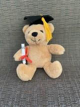 """Dan Dee Collectors Choice Graduation Plush Tan Bear 6"""" Black Cap & Diploma - $14.75"""