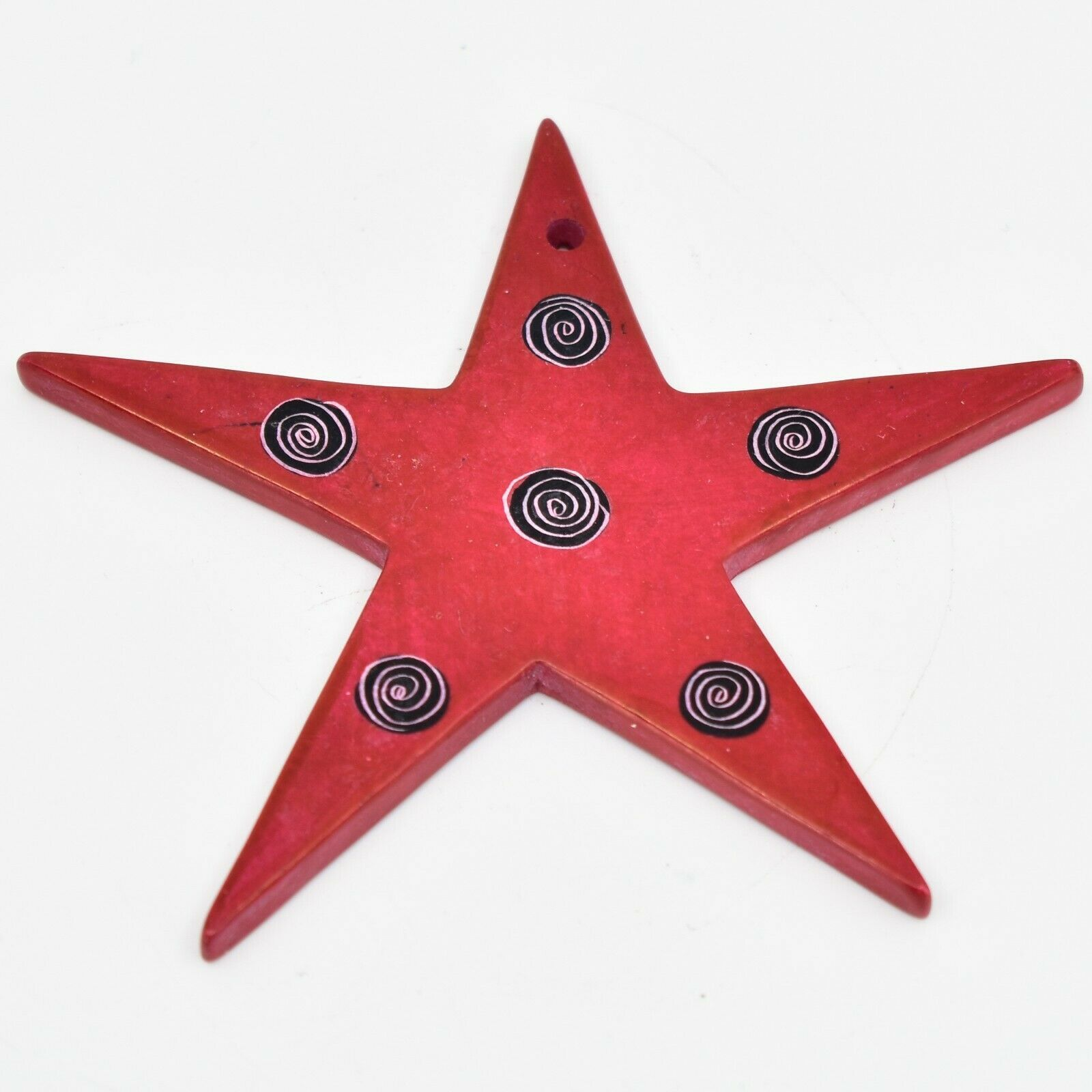 Tabaka Chigware Hand Carved Kisii Soapstone Red Star Christmas Tree Ornament