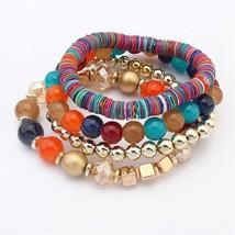 4pcs Women's Synthetic Tanzanite Bead Bracelet Stack Ladies Vintage Bohemian Fas - $46.00