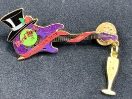 Hard Rock Cafe Pin Kona Hawaii Happy New Year 2002 Guitar Tophat Champagne PIN - $19.30