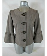 APT 9 womens Sz 8 3/4 BELL sleeve tuape LINED button down jacket (B4) - $44.88
