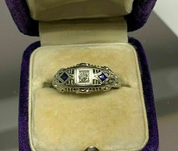 Vintage Art Deco Engagement White Gold Over 1.50Ct Diamond Filigree Fine... - €109,96 EUR