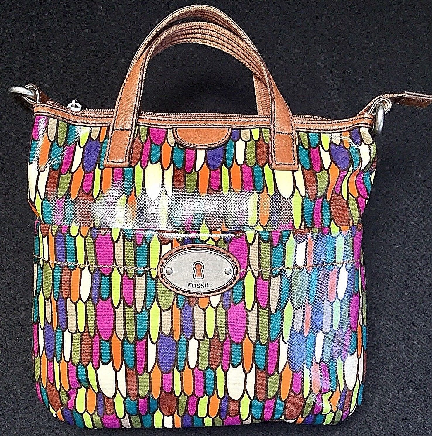 Fossil Calypso Key Per ZB5125 Multi Color Feather Print Coated Canvas Tote Bag