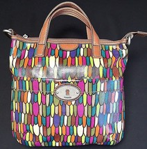 Fossil Calypso Key Per ZB5125 Multi Color Feather Print Coated Canvas Tote Bag image 1