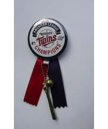 1987 AL Champion Minnesota Twins Pinback Button w/ ribbons baseball & bat - $13.09