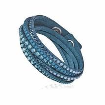 Swarovski 5043496 Slake Blue Alcantara Women's Crystal Accented Wrap Del... - $82.22