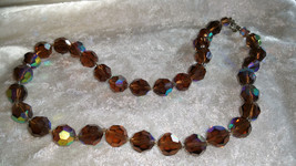 Vintage brown tan color rhinestones rare Choker 16 1/2 inches   - $28.00