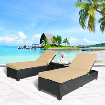 3 PC Outdoor Rattan Wicker Chaise Lounge Adjustable Garden Pool Chairs a... - $399.99