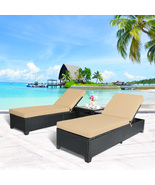 3 PC Outdoor Rattan Wicker Chaise Lounge Adjustable Garden Pool Chairs a... - $429.99