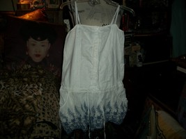 DENNY ROSE Italy Romantic Porcelain White+ Aegean Blue Embroidered Dress... - $24.75