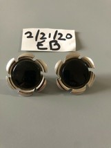Vintage Sarah Coventry Signed Black Clip On Earrings - $8.90