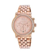 BRAND NEW MICHAEL KORS MK5983 ROSE GOLD STAINLESS STEEL PAVE CHRONO WOME... - £140.06 GBP