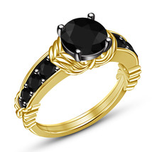 Yellow Gold Plated 925 Sterling Silver Round Black Diamond Girls Engagem... - $75.57