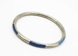 925 Sterling Silver - Vintage Lapis Lazuli Inlay Pattern Bangle Bracelet - B6264 image 3