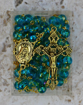 Gold Prayer Rosary Beads - Immaculate Heart of Mary - 8mm Blue / Teal Gl... - $24.95