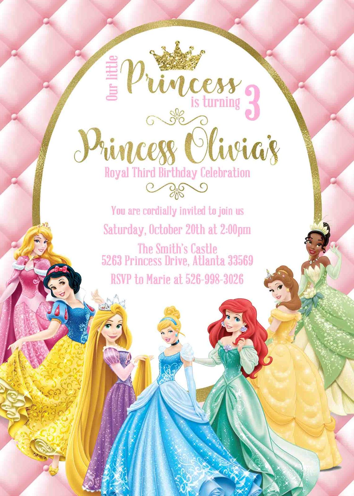 Princess birthday invitation disney princess and 47 similar items princess birthday invitation filmwisefo