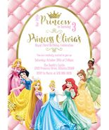 Princess Birthday Invitation Disney Princess Personalized Pink Tiara Custom - $0.99