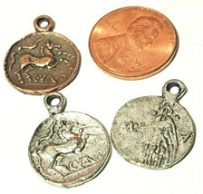 ANCIENT COIN FINE PEWTER PENDANT CHARM - 2x20x16mm image 1