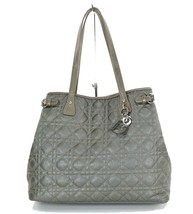 Auth Christian Dior Gray Quilted Canvas Tote Hand Bag Purse #33490 - $349.00