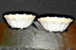 Vintage 2 nine inch white glass bowls with floral design AA19-1400