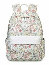 SUNLAND Double Zipper Eiffel Tower Printing School Backpack Student Beige - $28.20