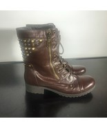 G by Guess Brown Zip Lace Fashion Boot Women Size 7 M. Combat, Studs, Ca... - $18.81