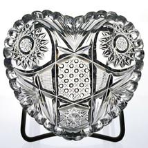 Newark Whist Heart Shape Bon Bon Dish, Antique ABP American Brilliant Cu... - $73.50
