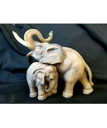 Porcelain Figurine Mother Trunk Up Elephant with Baby Andrea by Sadek #7870 - $35.10