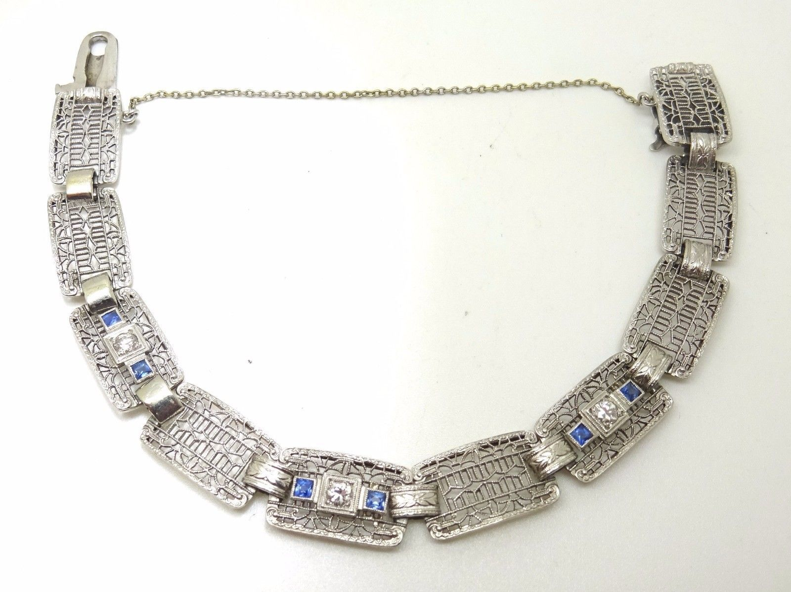 14k Gold Art Deco / Filigree Diamond Bracelet with Synthetic Sapphires (#3530)