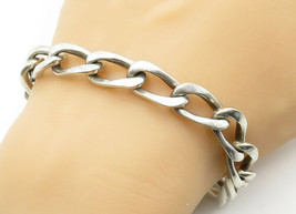 925 Sterling Silver - Vintage Smooth Chunky Curb Link Chain Bracelet - B... - $130.33