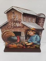 Thanksgiving Fall Vintage Style Barn Child & Turkey Wood Sign Tabletop D... - $18.99