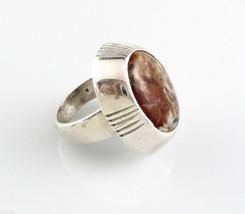 BIG Vintage 1960s 70s Handmade Sterling Silver & Agate Modernist RING Si... - $195.00