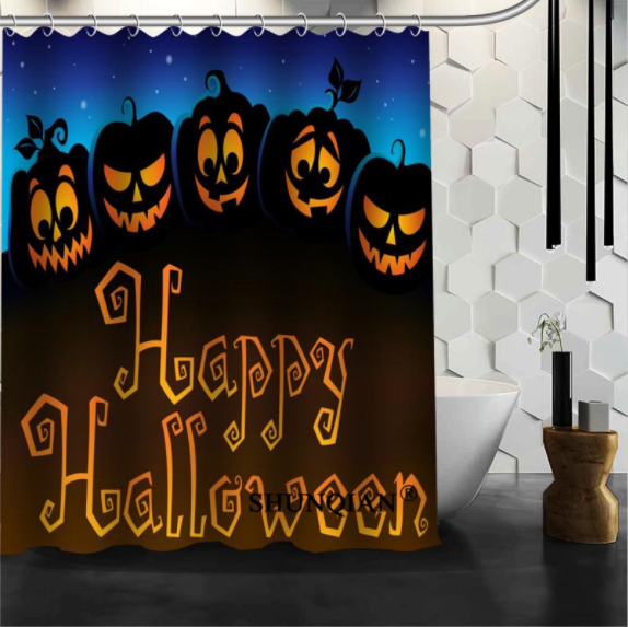 Party Happy Halloween 99 Shower Curtain Waterproof Polyester Fabric For Bathroom