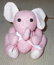 "Hand Crafted Stuffed Elephant - Pink and White - 3.75"" L x 4.5"" H x 3"" D - $15.00"