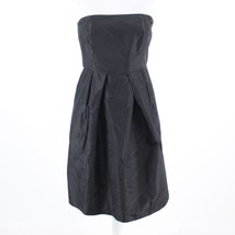 Black 100% silk J. CREW strapless box pleated waist A-line dress 8 - $39.99