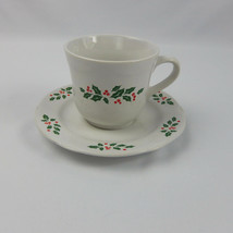 CORNING DESIGNS Winter Holly Coffee Cup and Saucer Scalloped Edge Christmas - $9.89