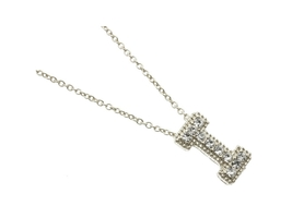 Crystal Stone Paved 'I' Initial Pendant Necklace in Silvertone - $10.95