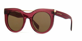 Alexander McQueen AM0001S 004 52MM Round Sunglasses Red Frame Brown Lens - $168.28