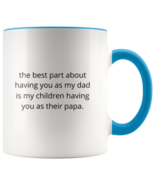 The Best Part Papa Accent Coffee Cups Two Tone Glossy Ceramic ORKA Coating 11 OZ - $15.99