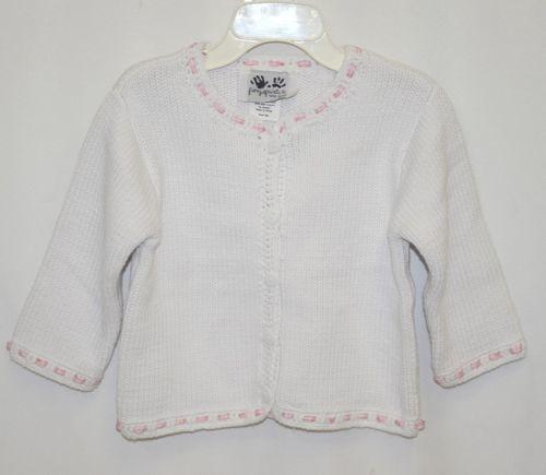 Fingerprints New York White Pink Ribbon button Sweater 12 Month