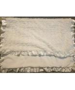 Macy's First Impressions Baby Blanket White Rose Swirl Satin Ruffle Edge... - $39.58