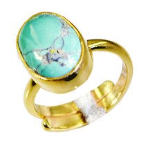 captivating Turquoise Gold Plated Multi Ring Natural handmade  US gift - $17.99