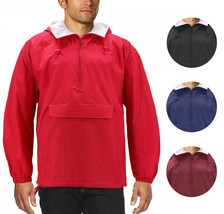 Men's Water Resistant Windbreaker Hooded Half Zip Pullover Rain Jacket