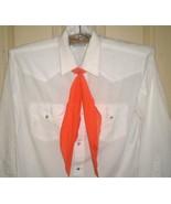 MK9 MESQUITE white western-style shirt + white polka-dots on orange tie ... - $10.88