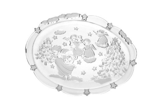 Walther Glass Xmas Season Oval Dish, 9.25-Inch