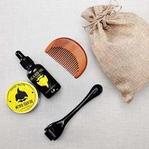 Beard Derma Roller for Men's Beard Growth + Beard Serum Oil + Beard Balm Wax + C image 8